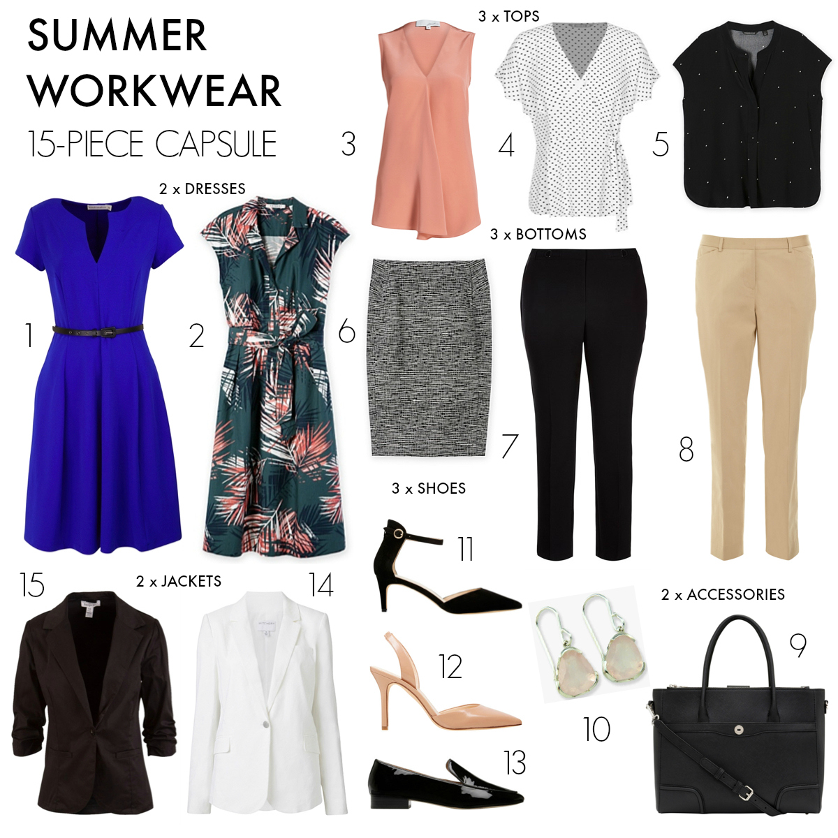 15-piece summer workwear capsule wardrobe