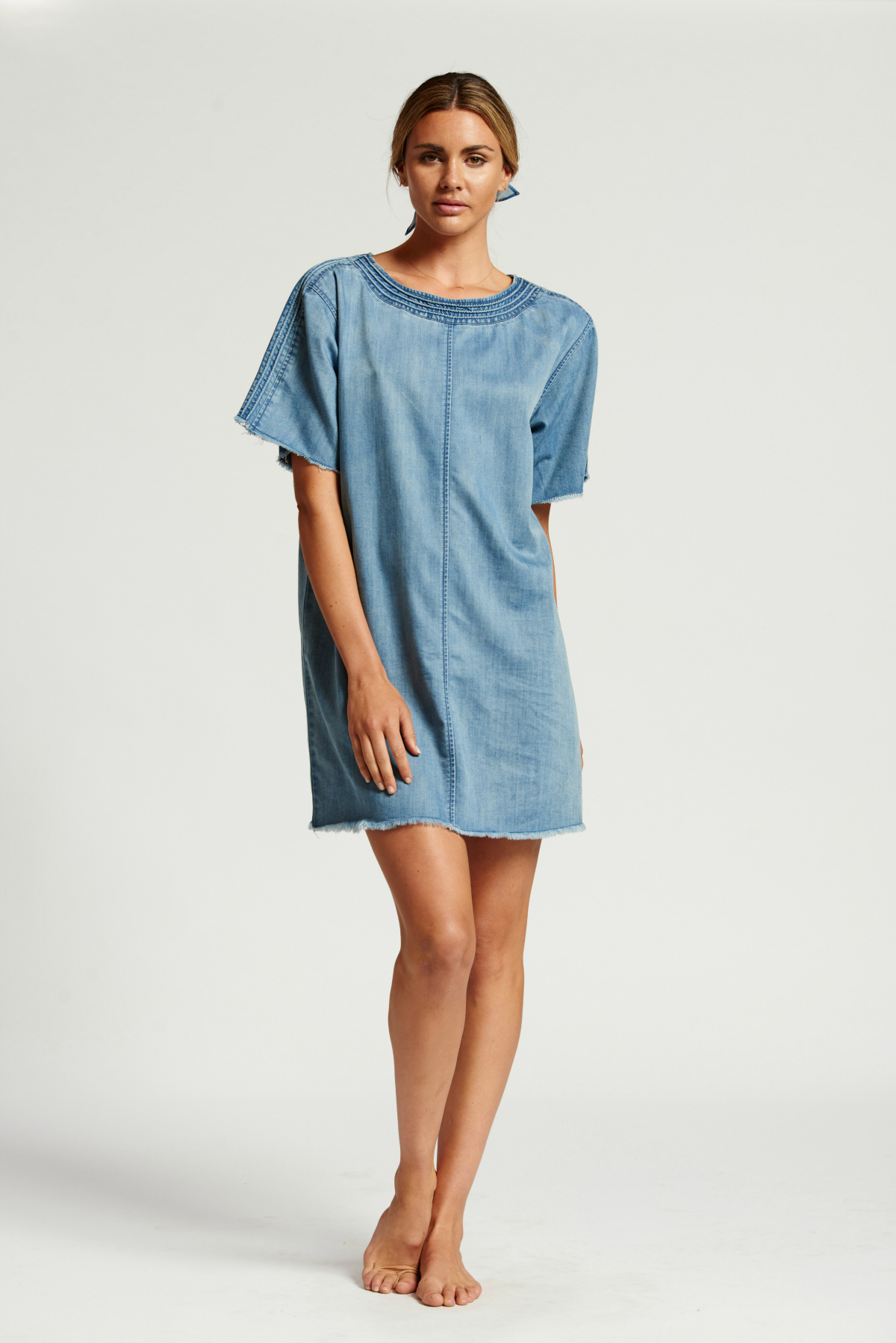 Bohemian Traders denim shift dress