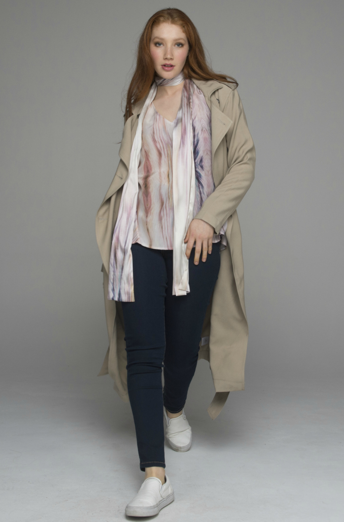 Beech and Bird trench, top, scarf and jeans | FRANKiE4 Footwear SALLi boots | Nicole Fendel earrings and cuff