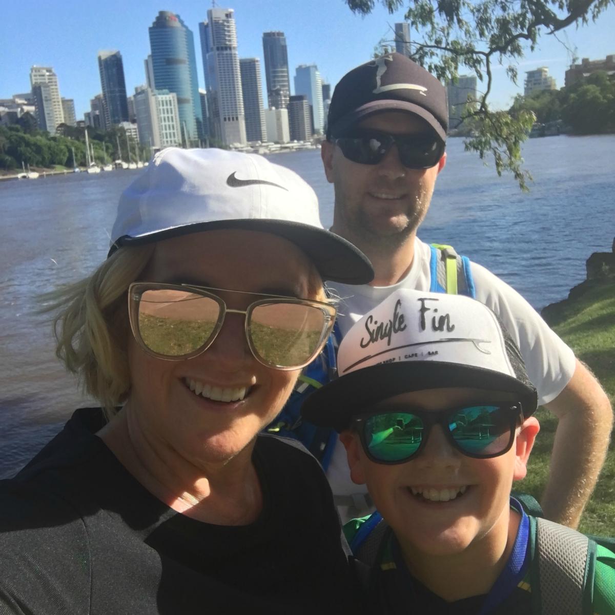 Family walks Brisbane City