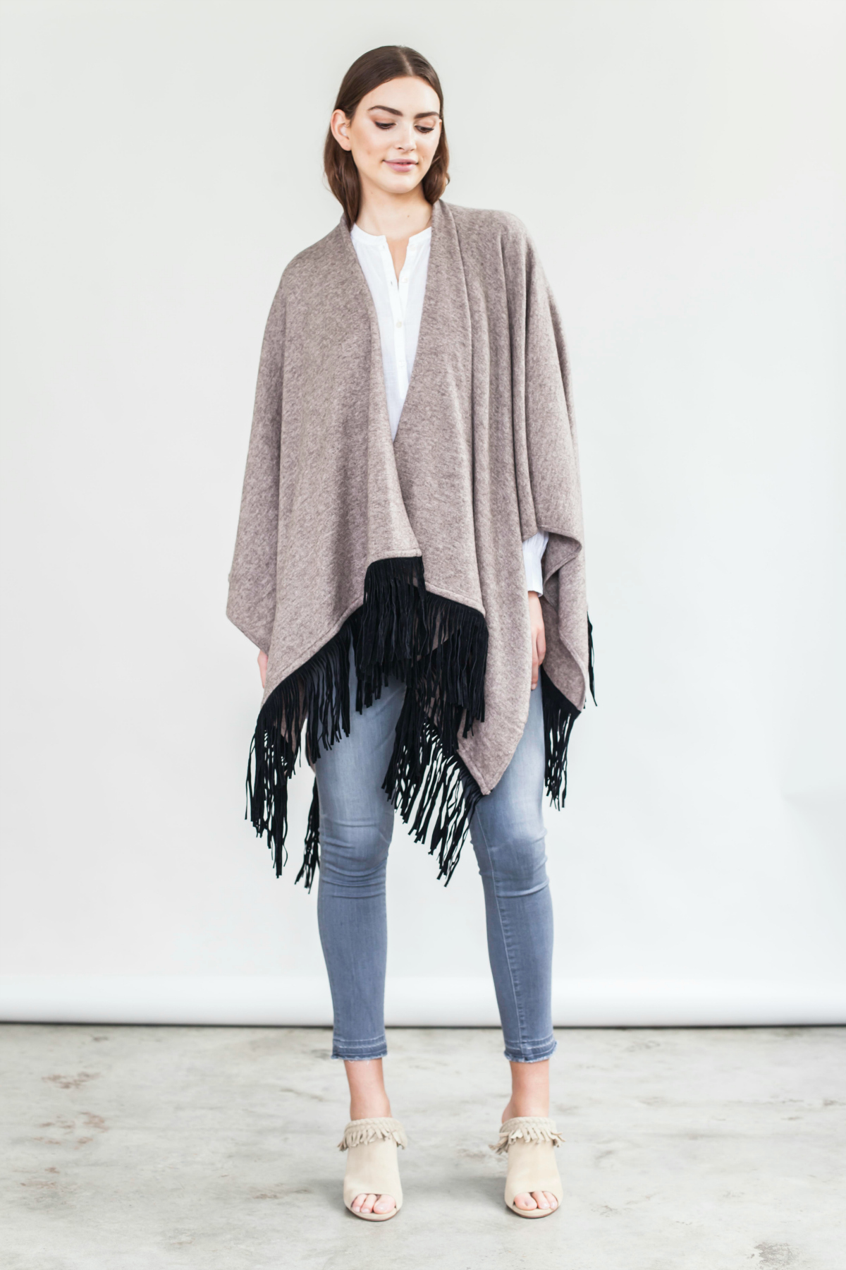 Read and Bell luxe fringed wrap | Balloon sleeve shirt
