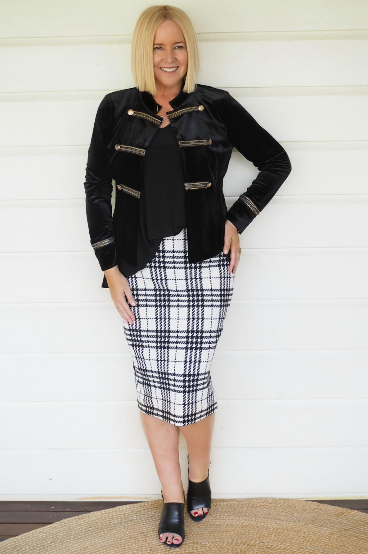 Motto jacket, top and skirt | FRANKiE4 Footwear mules