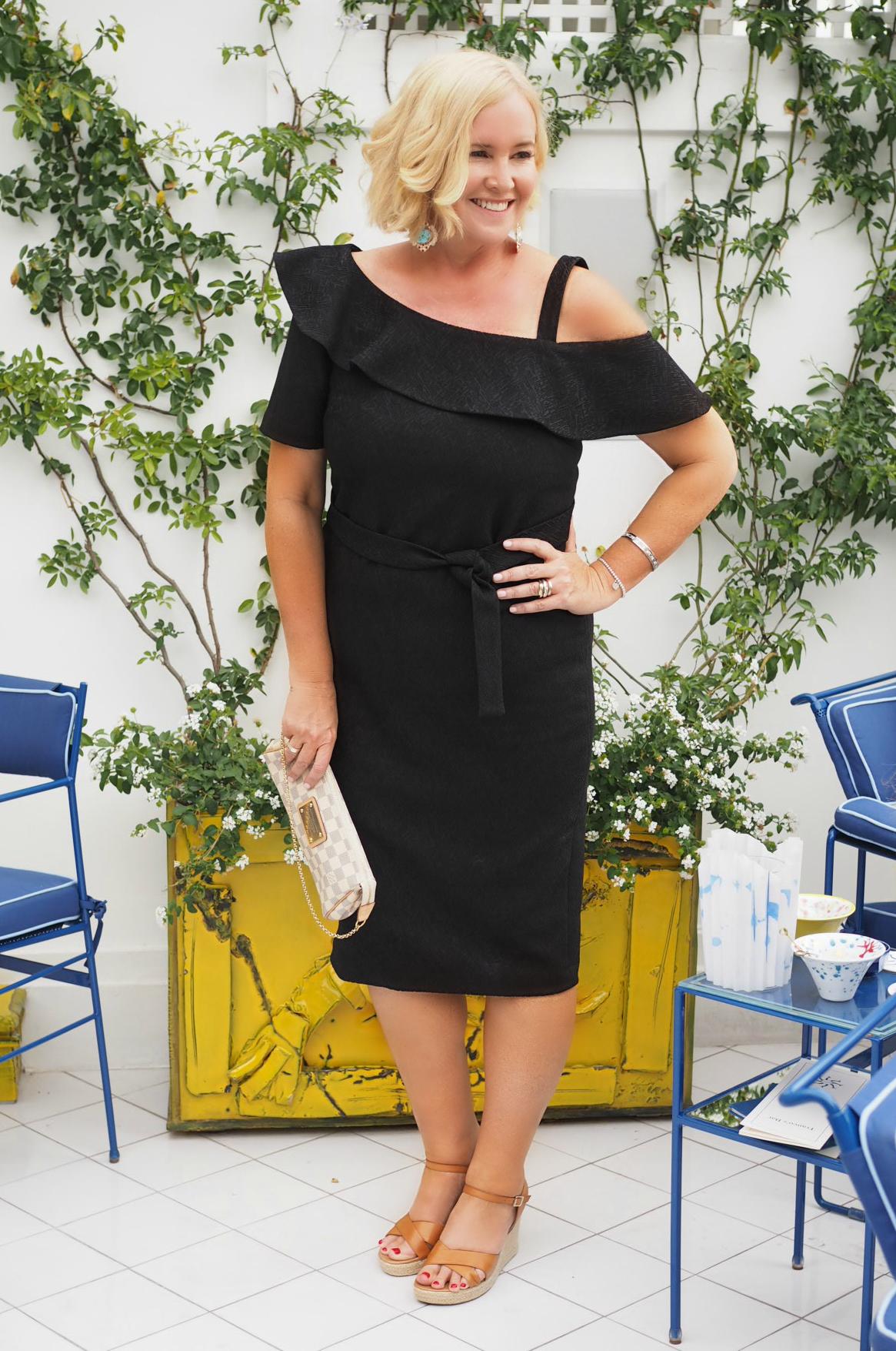 Sacha Drake dress | Christie Nicholaides earrings | FRANKiE4 Footwear wedges | The Model and Me: Sacha Drake spring-summer 2017