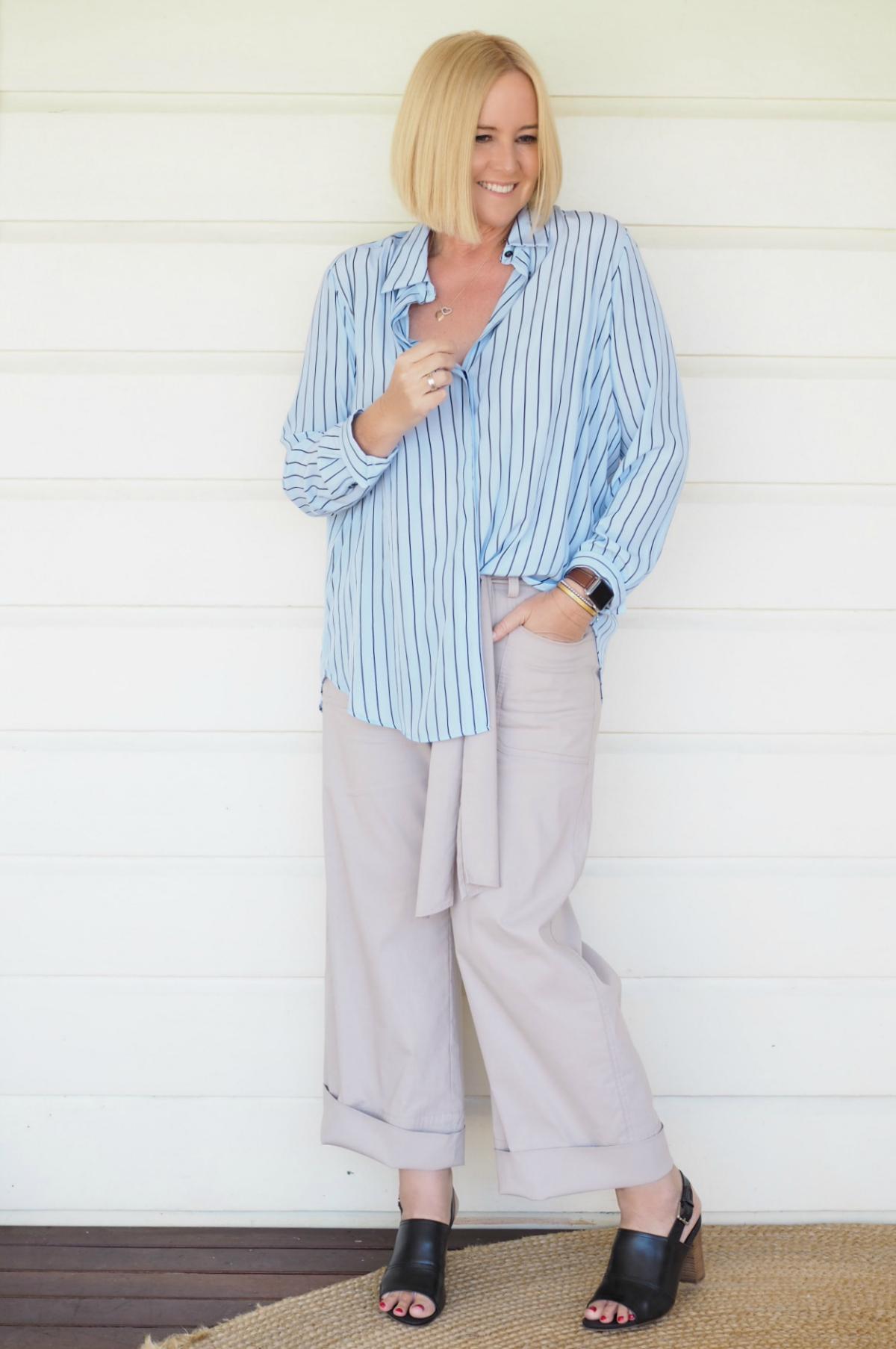 Mela Purdie shirt and pant; FRANKiE4 Footwear Cate mule | spring-summer 2017 | Zambezee Boutique