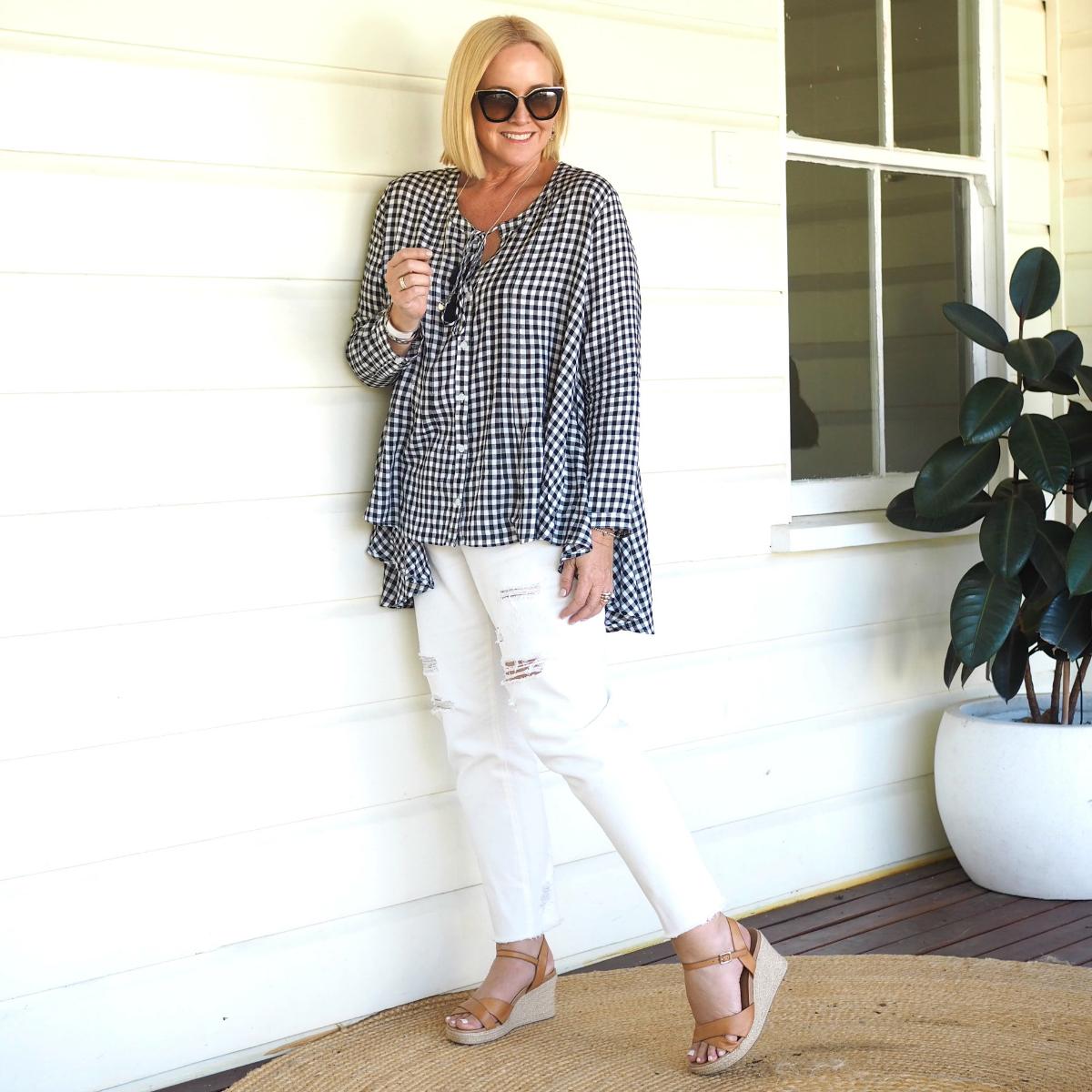 Bohemian Traders gingham shirt | Bohemian Traders jeans | FRANKiE4 Footwear ALYCE wedges